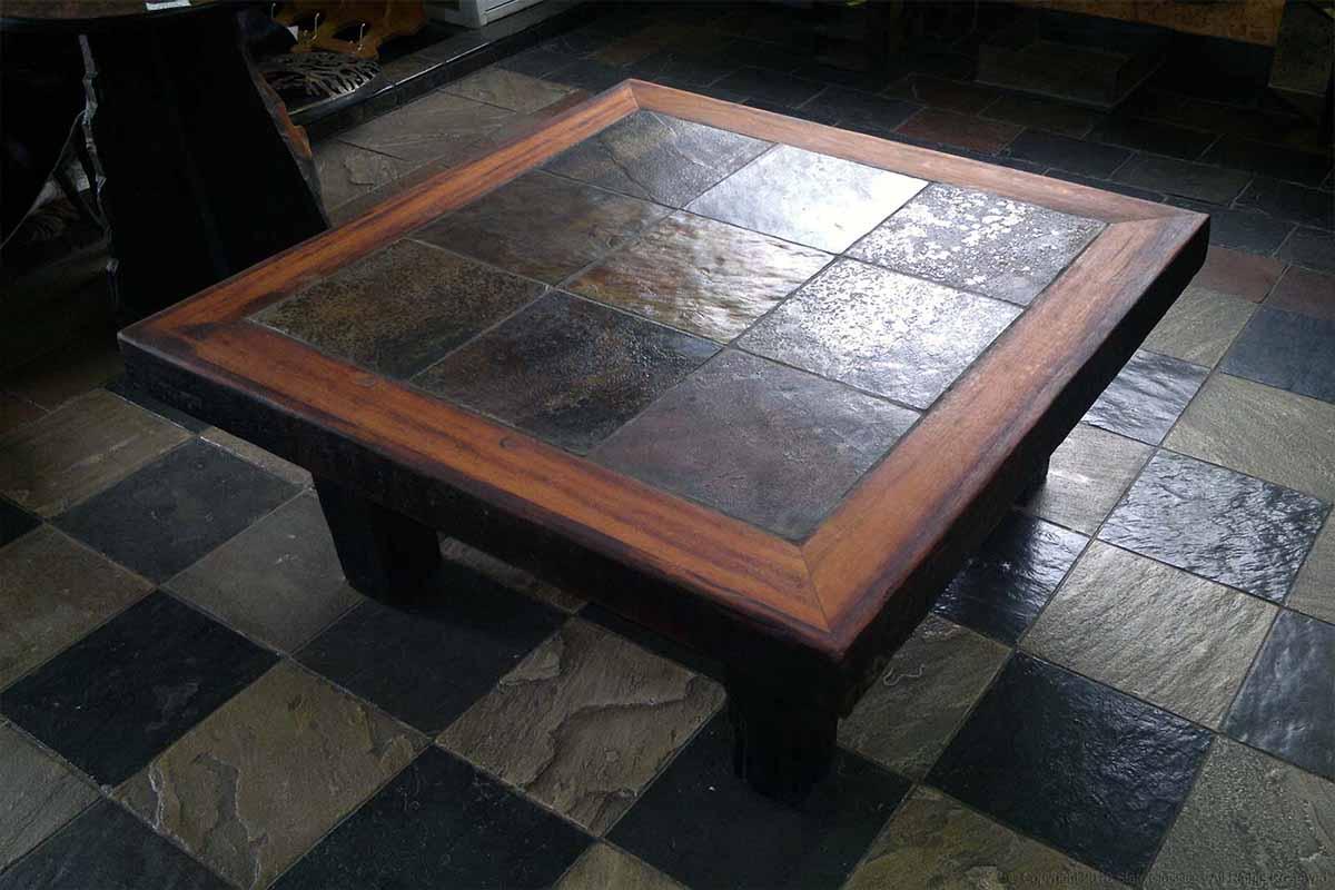 Slate Tile Top Sleeper Wood Table